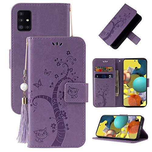 Miagon Brieftasche Flip Hülle für Samsung Galaxy A31,Schön Schmetterling Baum Katze Design PU Leder Buch Stil Stand Funktion Handyhülle Case Cover,Lila