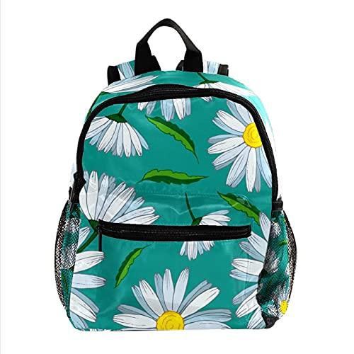 XiangHeFu Mochila ligera para mochila de viaje escolar para niñas y niños Patrón sin fisuras con camomiles y hojas. Mochila estampada