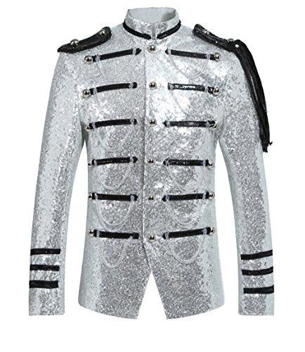 Giacca da uomo con paillettes e paillettes, vestibilità slim e aderente, con nodi e catena. Argento S