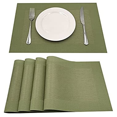 AMZMOO Placemats,Set of 4 Placemats,Kitchen Table mats,Heat Insulation PlaceMat,Table Mats Set of 4 (Green)