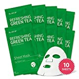 Sheet mask by Glam Up Refreshing Green Tea (10 sheets) - Revitalize Dull Skin. Dark Circle Fighter Nature made Freshly packed Daily Skin Therapy Original K-Beauty Recipe x 10ea