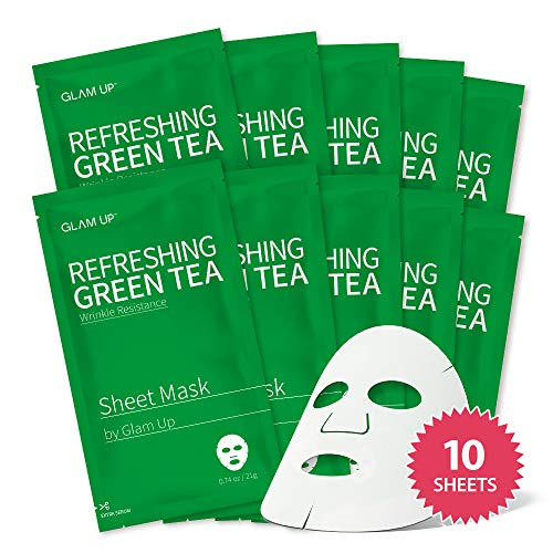 Sheet mask by glam up BTS Refreshing Green Tea - Revitalize Dull Skin. Dark Circle Fighter Nature made Freshly packed Daily Skin Therapy Original K-Beauty Recipe x 10ea