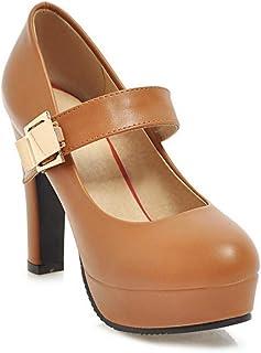 BalaMasa Womens APL12099 Pu Block Heels