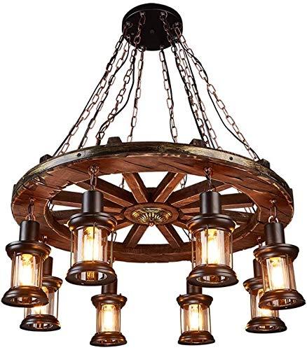 ZFB8B Lámparas de Pared E27 8-Lights Ruedas de Madera Maciza Chandelier de Madera Retro Rústico Negro Madera Colgante Multi Colgante Línea de luz Se Puede Ajustar libremente Lámpara S8YU18