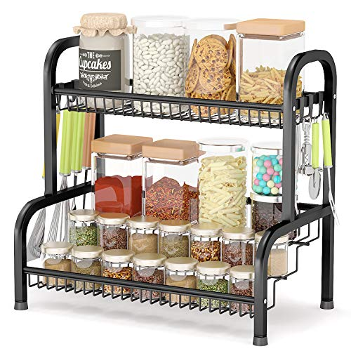 Spice Rack Organizer, Kitchen Spice Rack with Step Shelf...