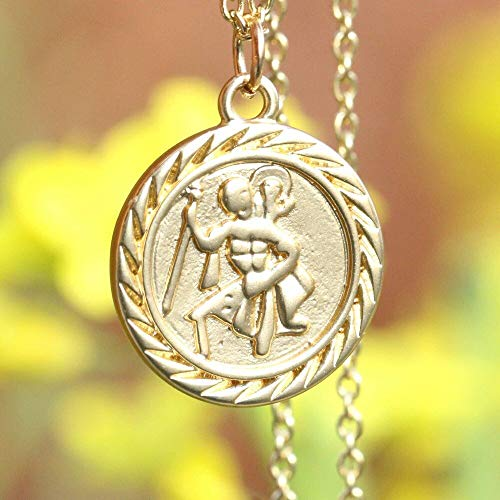 Ladies St. Christopher Protect Me Coin Necklace Women Religious Jewelry