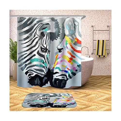 Knbob Polyester Duschvorhang & Badezimmerteppich Set Zebra Bad Vorhang Badvorleger 180x200CM mit 12 Duschvorhangringen