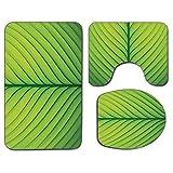 3Pcs Alfombra de baño Antideslizante Juego de Tapa de Asiento de Inodoro Verde Suave Alfombrilla Antideslizante Alfombra de baño Ondulada Textura de Rayas de una Hoja Verde Macro Primer Plano Gráfico