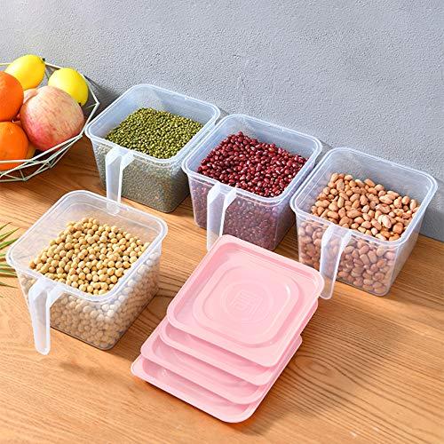 Xnuoyo Kitchen Organizer Frigo Congelatore Conservazione, Contenitori per Alimenti Contenitori con Manico E Coperchi, Frigorifero Impilabile Organizer Keeper per Frutta Verdura Carne Pasta-4PCS