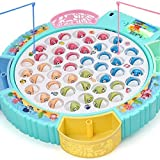 Fishing Game Toy Pole and Rod Fish Board Rotating with Music Includes 45 Fish and 4 Fishing Poles Fine Motor...