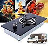 RV Cooktop Stove Camper LPG Gas Stove Single Burner Portable w/Tempered Glass 200x365x70mm Multi-level Fire Adjustment Stainless Steel Built-In Gas Hob Easy to Clean USA STOCK