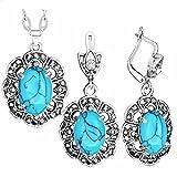 CLEARNICE Collar con Colgante de Flor de Ciruela, Pendientes, Diamantes de imitación, Conjunto de Joyas de Piedra Azul, joyería de Moda chapada en Plata Antigua, Collar de Longitud 70Cm