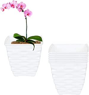 Meded Garden Essential Plastic Indoor Planter/Table top Planter/Plant Container/Flower Pot (4.2-inch, White, Pack of 6) (Pack of 6, White)