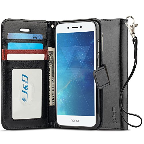 JundD Kompatibel für Huawei Honor 6A Leder Hülle, [Handytasche mit Standfuß] [Slim Fit] Robust Stoßfest PU Leder Flip Handyhülle Tasche Hülle für Huawei Honor 6A Hülle - Schwarz
