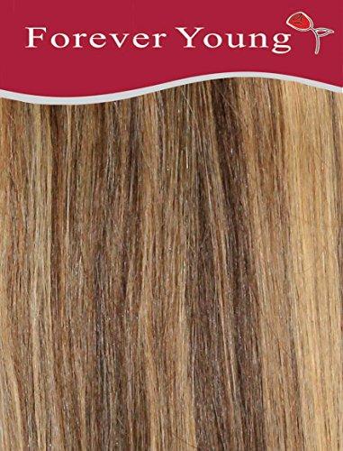 Forever Young Extensions de cheveux humains Remy à clipser Demi-tête 40 g Longueur 45,7 cm Mélange brun et blond #4/27