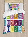 Ambesonne Nursery Activity Duvet Cover Set, Colorful English Alphabet Blocks Childrens Cartoon Balloon Letter Design, Decorative 2 Piece Bedding Set with 1 Pillow Sham, Twin Size, Pink Cream