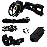 6Pcs Compound Bow Accessory Combo, Brush Arrow Rest, Stabilizer,5 Pin Bow Sight with Level and Light, Bow Sling, Wrist Rope for Archery Bow Hunting, Black