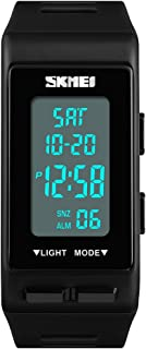 TONSHEN Unisex Outdoor Sport Digital Watch Waterproof LED Electronic Double Time Rectangular Plastic Case with Rubber Band Multifunction Military Stopwatch Alarm Countdown Watches (Black)