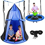 Kids Hanging Tent Saucer Swing - Detachable Tent Cover - Giant Hammock Nest Pod Hanging Round Circular Flying Swing Swing Set - Cushion Padded Metal Frame, Outdoor Indoor Swing - Serenelife (Blue)