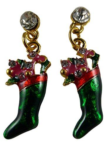 Ohrringe Ohrstecker Stecker Weihnachten Heilig Abend Nikolaus Stumpf Weihnachtssocke Socke Kamin Geschenk 4681