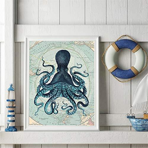 Rjjwai Kraken Octopus Tentacles Vintage Poster Drucke Nautische Küste Wandkunst Bild Antarktis Karte Leinwand Malerei Home Wall Decor Schlafzimmer