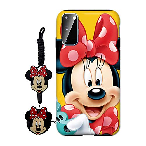 MME Cartoon Case for Galaxy A10 - Mickey Minnie Mouse Case Cute 3D Character Case Soft TPU with Pop Out Phone Stand Holder and Neck Strap Lanyard for Girls (Yellow,A10)
