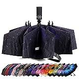 LANBRELLA Umbrella Reverse Travel Umbrellas Windproof Compact Folding - Starry Sky