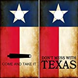 Speed Demon Hot Rod Shop Cornhole Wraps Rustic Texas Flags Come and Take It & Don't Mess with Texas Cornhole Laminated Decal Wraps (Set of 2) CHB