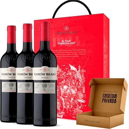 Estuche Vino Regalo Ramon Bilbao Crianza - Rioja - Seleccionado y Enviado en caja reforzada de Cosecha Privada - 3 Botellas -