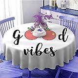 Good Vibes al aire libre mesa redonda Manzanas lindas frutas de dibujos animados ser saludable ir vegano comer limpio tema dieta alimentos para familiares diámetro 55 pulgadas coral verde negro