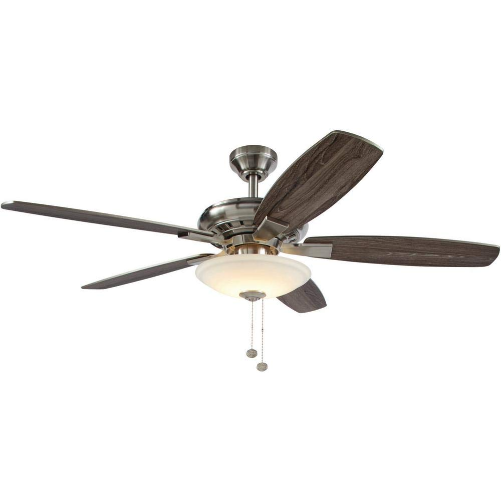 Hampton Bay Menage 52 In Integrated Led Indoor Low Profile Brushed Nickel Ceiling Fan With Light Kit Amazon Com