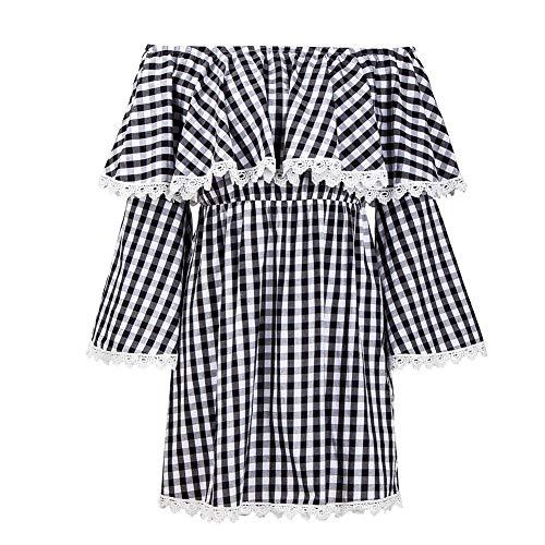 GLOGLOW Damesjurk, lange mouwen, zwart en wit geruit, casual jurk, lakhuls, elastische taille, strandjurk