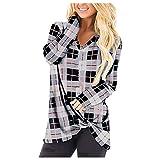 Berimaterry camisetas mujer manga larga originales con estampado de Cuadros Escoceses Jerséis de cuello de pico con Dobladillo irregular ropa otoño mujer baratos jersey cómodos top de mujer