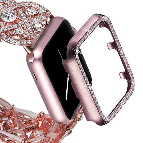 VIQIV Bling Protective Face Bumper Case Cover for Compatible with Apple Watch 38mm 42mm 40mm 44mm, Crystal Diamond Plate Frame Compatible with Apple iWatch Series 4 3 2 1 Rose Pink