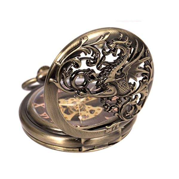 Carrie Hughes Men's Dragon Engraving Vintage Steampunk Skeleton Mechanical Pocket Watch with Chain CHPW10