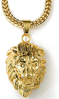 Mens 18K Gold Plated Lion Head Franco Chain Hiphop King Lion Pendant Necklace