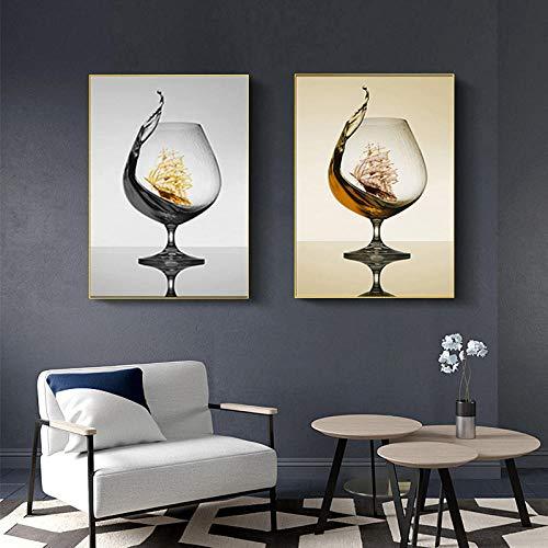 Modern romantisch wijnglas met zeilboot, abstract, canvas, kunst, foto, voor galerij eetkamer, bar, decoratie thuis, 30 x 40 cm x 2 zonder lijst