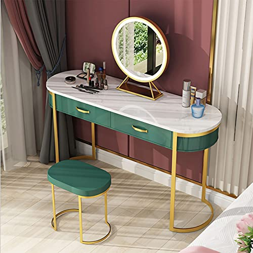 Vanity Dressing Table with LED Lighted Mirror, Makeup Desk with Cushioned Stool Drawers Set, for Bedroom, Grey