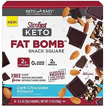 14-Count SlimFast Keto Dark Chocolate Almond Fat Bomb Snack Square