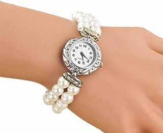 AmyDong Pearl Fashion Student Beautiful Watch Womens Classic Gold Quartz Stainless Steel Wrist Watch Bracelet
