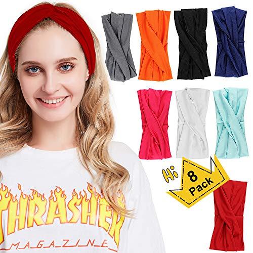 AOBETAK Haarband Damen, 8 Stück Breit Vintage Elastisch Kreuz Haarbänder Kopfband, Sommer Dünn Haar Accessoire Stirnband für Makeup Dusche Yoga Sport