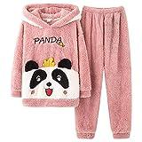 Ropa de dormir para mujer, pijama de forro polar, conjunto largo, invierno cálido, pijama de dos piezas, camiseta de manga larga y pantalones de pijama, Rosa., XXXL