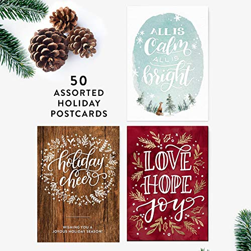 50 Holiday Postcards, All Is Calm All Is Bright, Hand-Lettered Christmas Postcard Set, Hand-lettered Holiday Postcards, Happy New Year Postcards, Season's Greetings Postcards