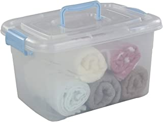 Utiao 13 Liter Plastic Storage Bin with Blue Latching Handles, Clear Toy Container, 1 Pack