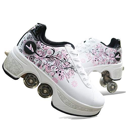 N / A Verstellbare Quad-Rollschuh-Stiefel, Inline-Skate, Unisexe Skates Deformation Schuhe,2-in-1-Mehrzweckschuhe,35,Pink