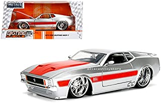 Jada 1: 24 W/B - Metals - Bigtime Muscle - 1973 Ford Mustang Mach 1 (Silver/Red Stripes) Diecast Vehicles