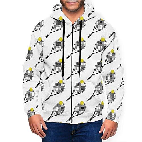 Sudadera con capucha para hombre simple de raqueta de tenis y pelota de deportes con capucha impresa en 3D con cremallera