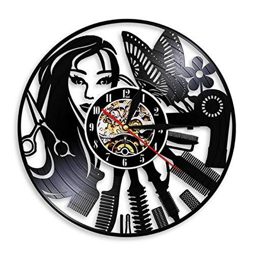 LWXJK Peluquería Señal Silenciosa De Corte De Pelo Reloj De Pared De Peluquería, Salón De Belleza Diseño De Discos De Vinilo Reloj Reloj Peluquería Tienda De Decoración De La Pared
