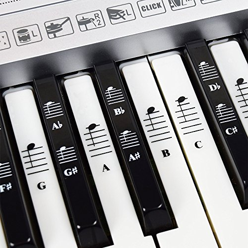Piano and Keyboard Music Note Full Set Stickers for White and Black Keys; Transparent and Removable; Made in USA