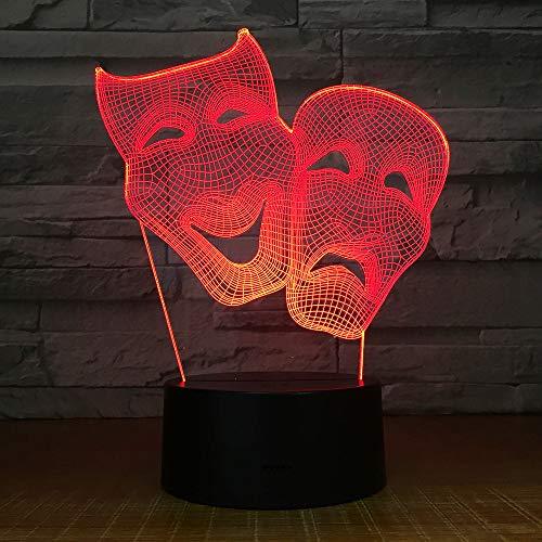 Comedy-masker illusie-nachtlampje 3D, dinosaurus nachthemel, 7 kleuren USB-opladen, slaapkamer voor kinderen, Kerstmis, Halloween, verjaardagscadeau